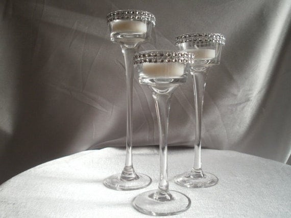 Long stem glass tealight candleholders centerpiece candle