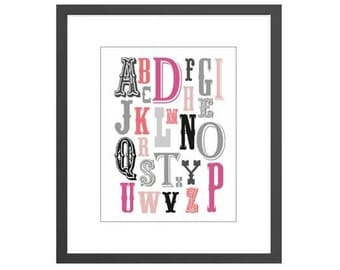 Nursery art room decor alphabet lettering print for newborn nursery girls toddler or kids room. Perfect baby shower gift for new moms!