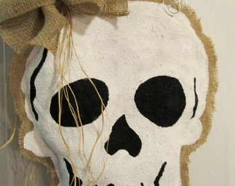 Burlap Skull Door Hanging Decoration for Halloween