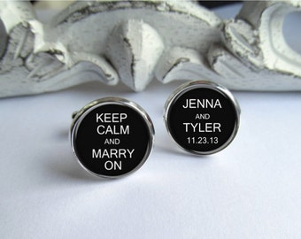 Wedding Cufflinks, Keep Calm And Marry On, Personalized Mens Cufflinks