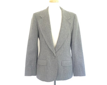 Pendleton Gray Wool Blazer. Small. Vintage 70s Women's Boyfriend Blazer