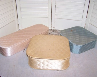 3 lot glove and hanky box, quilted vanity mid century collectible, jewelry  box, Trinket handkerchief..Reduced..WAS 21.99