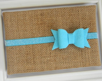 Blue Felt Bow Headband - Infant headband - Toddler headband - Blue Bow Headband - Blue Glitter Headband