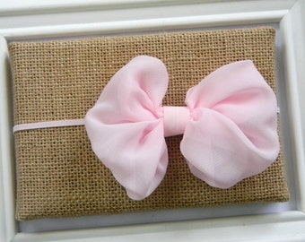 Light Pink Chiffon Bow Headband, Baby Headband, Infant Headband, Light Pink Bow Headband