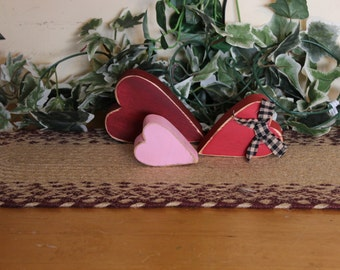 Set of three chunky hearts with homespun ribbon - Your color choice