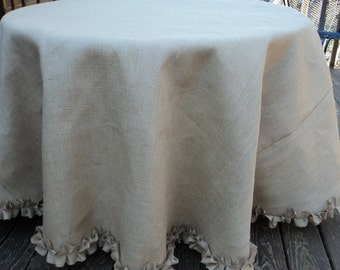 "90"" up to 120"" Round Burlap Tablecloth with Ruffles Rustic Wedding Tables"