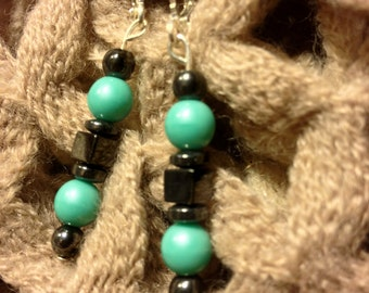 Earrings Turquoise -Hematite Jewelry WAS 10.00