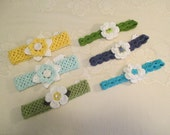 READY TO SHIP - 6 Pack of Crocheted Headbands and Flowers - 5 to 10 Year Size - Photo Prop