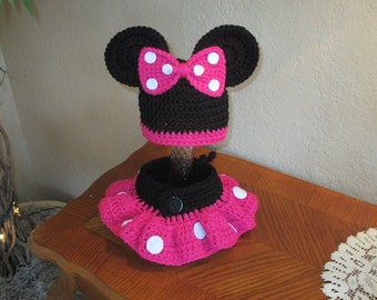Minnie Mouse Crochet Hat and Skirted Diaper Cover - Photo Prop Set -  Available in 0 to 24 Months - Any Color Combination