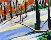 Snowy Landscape, Original Painting, Forest, Art, Winter Scene Woods, Trees