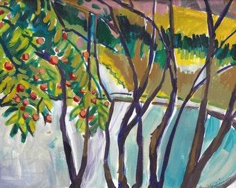 "SALE Original Painting, Dogwood Tree Bearing Fruit, signed art, 10"" x 14"" landscape abstract"