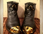 Vintage Black Short Tony Lama Cowboy Boots with Gold Toe Cap and Studs men's size 9 woman's size 11