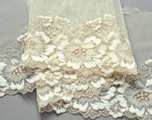 Champagne and Ivory Floral Lace Trim, Vanilla, Wedding Lace Trim, Champagne and Ivory Bridal Trim