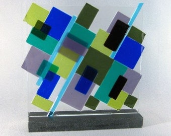 Art Glass Sculpture Mid Century Modern Asymmetrical Patchwork Block Sculpture Fused Glass Artist Signed