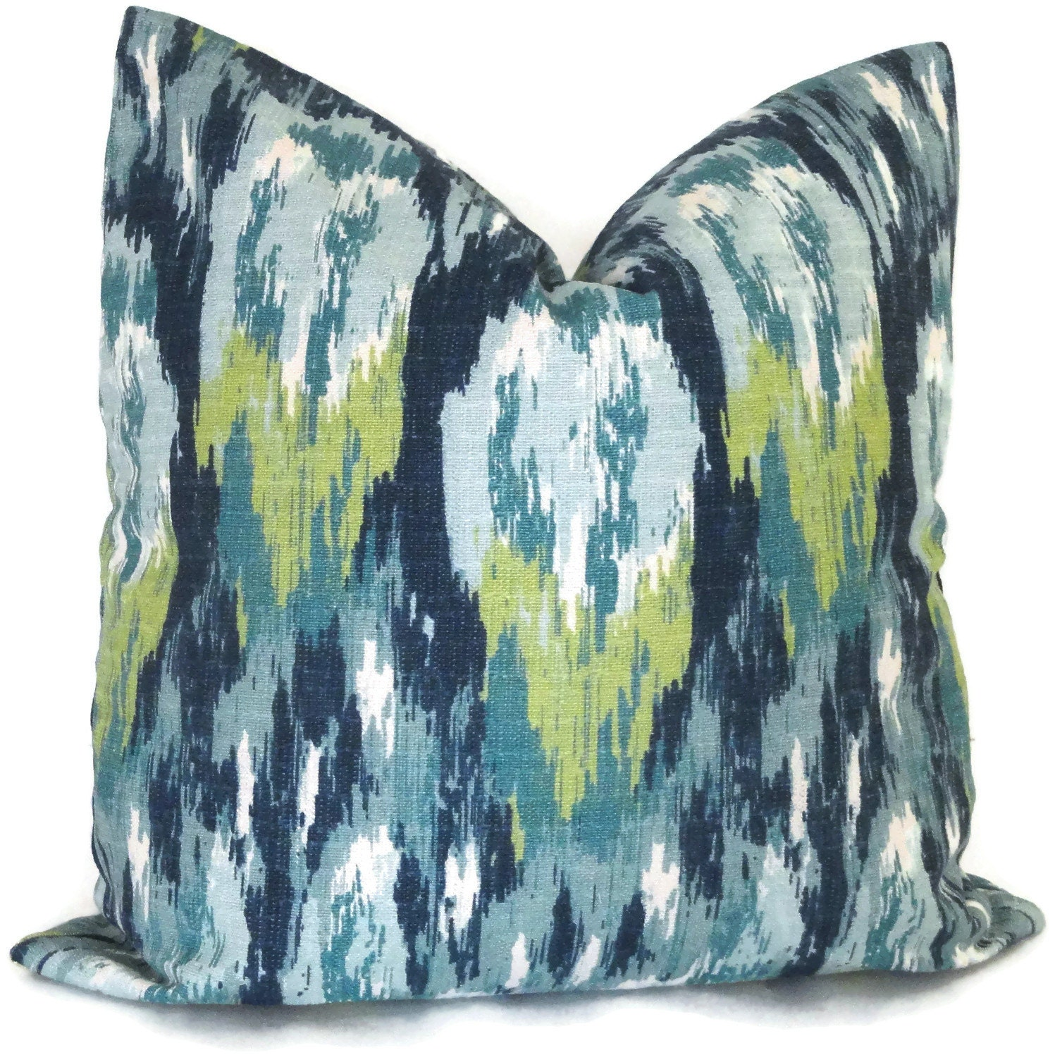 Blue ikat decorative pillow cover 18x18 or lumbar pillow for Designer accent pillows