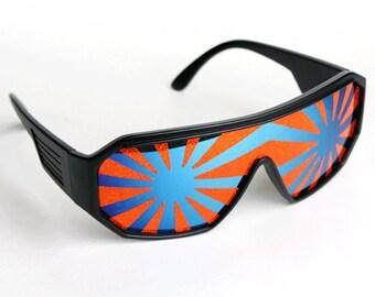 Rasslor Orange and Blue Shield Sunglasses