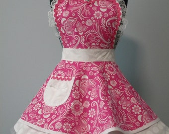 Apron-Pink Floral and Butterfly Flounce Apron