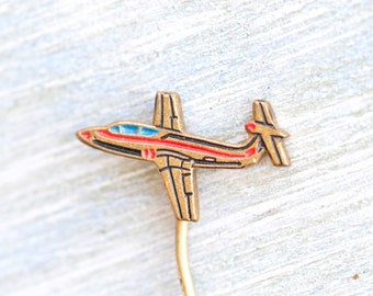 Tiny Plane Stick Pin - enamel on brass Airplane