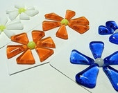 Glass Flowers For Mosaics, Jewelry, Magnets or other Embellishments 6 Flowers  (P225)