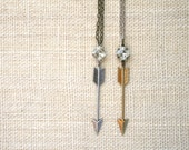 Extra Large Arrow and Vintage Glass Necklace, Vintage Czech Crystal, Oxidized Silver, Oxidized Brass, Cushion Cut, Mixed Metals, Boho