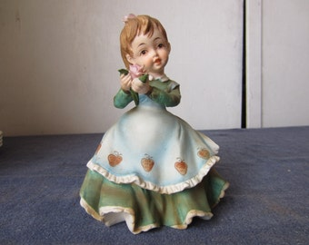 Lefton China Handpainted Figure, KW340A, Girl with Flowers in Her Hair and Hands