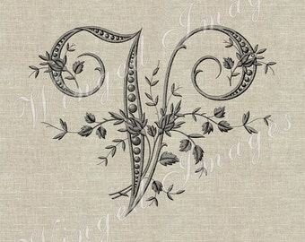 Antique French Monogram Letter V Instant Download Digital Image No.242 Iron-On Transfer to Fabric (burlap, linen) Paper Prints (cards, tags)
