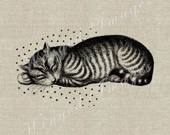 Sleeping Beauty. Cat Instant Download Digital Image No.283 Iron-On Transfer to Fabric (burlap, linen) Paper Prints (cards, tags)