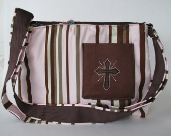 Pink with brown and cream stripped purse