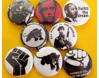 "8 Brand New 1"" ""Black Panthers"" Button Set"