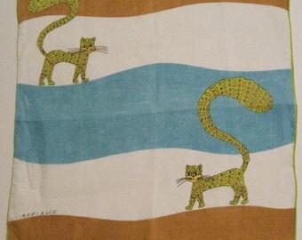 SALE - Vintage Designer Marielle Linen Cat Hankie