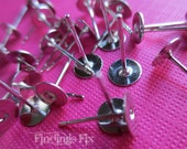 50X - platinum plated solid brass lead and nickel free earring blank post stud