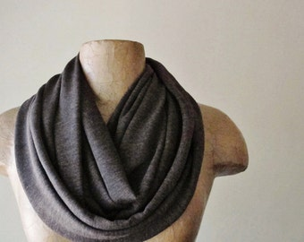 HEATHER BROWN Infinity Scarf - Cocoa Brown Circle Scarf - Super Soft Loop Scarf - Jersey Tube Scarf