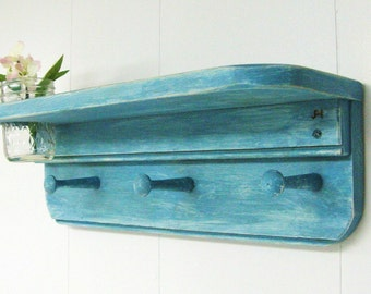 "SHABBY CHIC SHELF 18""w/jelly jar vase and 3 peg hooks, Wood Wall Shelf, Key Rack, Jewelry Rack, Shabby Cottage, Primitive, Rustic Wall Shelf"