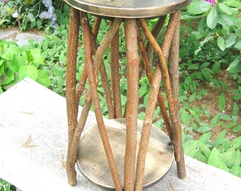 RUSTIC PLANT STAND / Rustic Side Table, Rustic Stool, Occassional Table, Stand, Folk Art Stand, Reclaimed Wood Table, Twig Table, Tramp Art