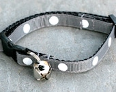 Cat Collar - Smoke with White Polka Dots