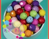 15 Pieces 16mm Faceted Acrylic Opaque Beads Rainbow Mix DIY Crafts For Chunky Necklaces And Bracelets