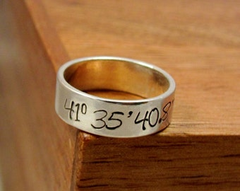 Latitude longitude coordinates- Hand Stamped sterling silver Ring- Size 6, 7, 8, 9