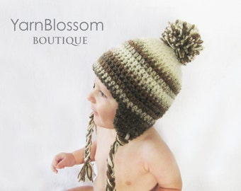 CROCHET PATTERN Earflap Pom-Pom Hat (5 sizes included from newborn-adult) Intant Download