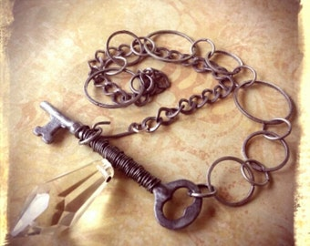 Vintage Skeleton Key Necklace - Upcycled, Hardware, Crystal, Boho, Industrial, Unique, Steampunk, One of a Kind Jewelry