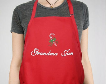 Embroidered Candy Cane Apron -gfy831397X