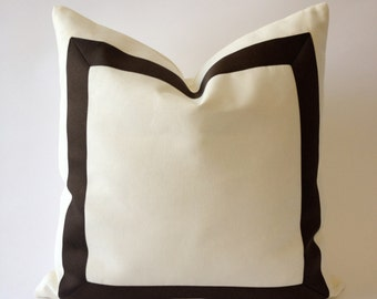Decorative Throw Pillow Cover Cotton Canvas with Dark Brown Grosgrain Ribbon Border - Cushion Covers