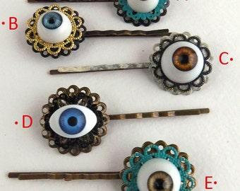 CLEARANCE: All Seeing Eye - Hair Pin Accessory Creepy Cute Pastel Goth Kitsch Steampunk