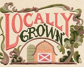 Locally Grown Embroidered Flour Sack Hand/Dish Towel