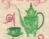 Fancy a Cup cuppa of Tea- Embroidered Flour Sack Hand/Dish Towel