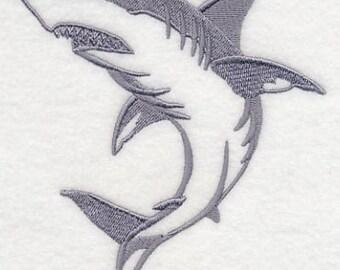 Shark Silhouette Embroidered Flour Sack Hand/Dish Towel