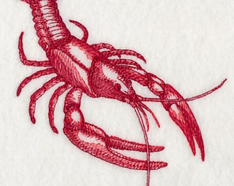 Crawfish Silhouette Embroidered Flour Sack Hand/Dish Towel