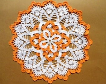 Round crochet doily , orange and white crochet doily , 12 ""
