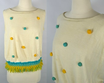 1960s/1970s Ivory Sleeveless Blouse with Pom-poms and Knitted Fringe Hem