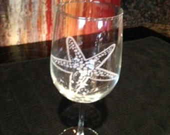 Starfish Etched Glassware