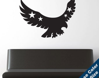 Patriotic Eagle Wall Decal - Vinyl Sticker - Free Shipping